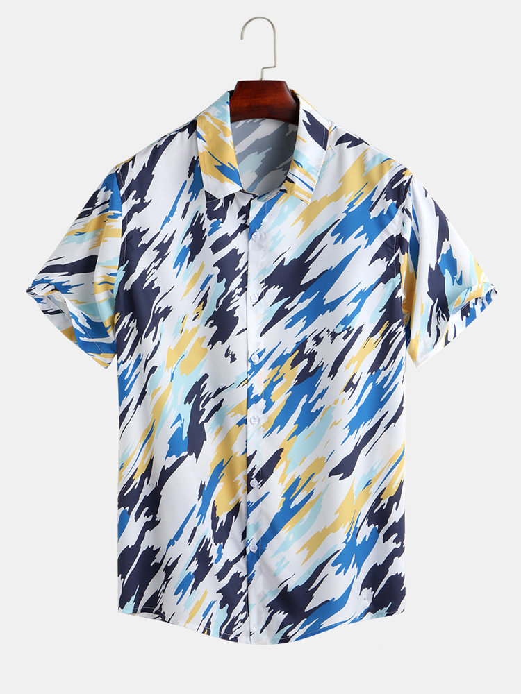 Mens Hit Color Abstract Printed Turn Down Collar Short Sleeve Casual Shirts