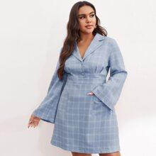 Plus Fold Pleat Button Front Patch Pocket Plaid Dress