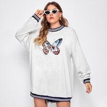 Langes Sweatshirt mit Schmetterling und Streifen Muster und sehr tief angesetzter Schulterpartie