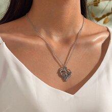 1 pieza Mothers Day collar con diseño de letra grabada con diamante de imitacion