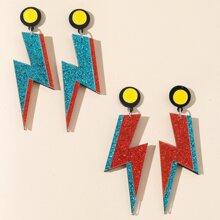 2 Paare Ohrringe mit Glitzer und Blitz Dekor