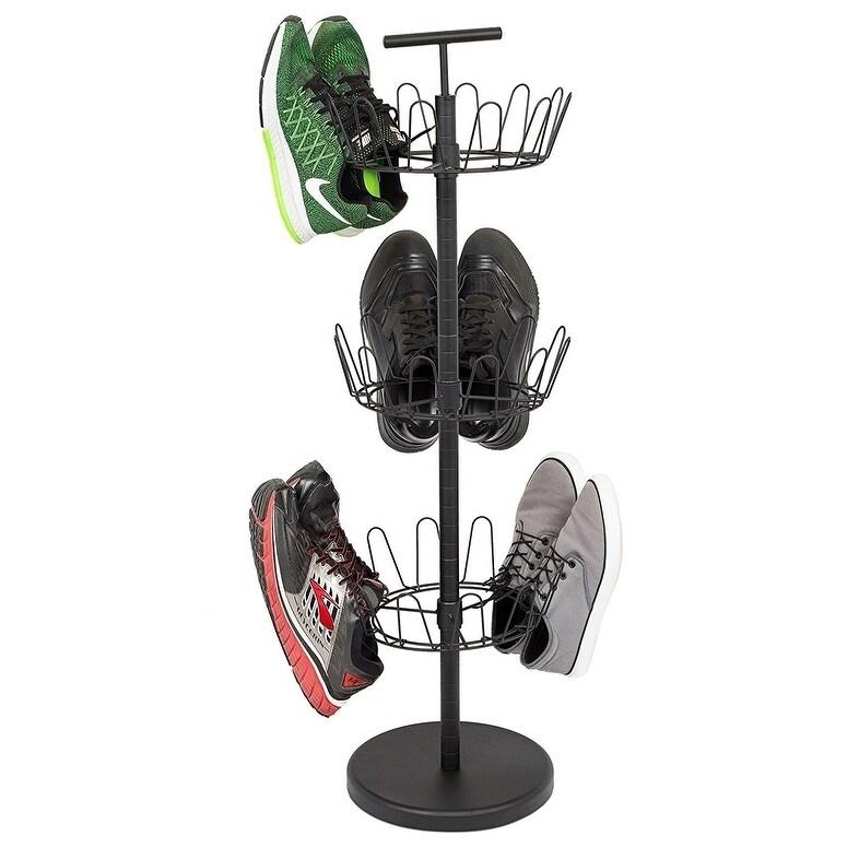 Internets Best 3 Tier Metal Shoe Tree   Black Finish   18-Pair Shoe Organization   Free Standing Tower Weighted Base (Black Finish 18-Pair Shoe