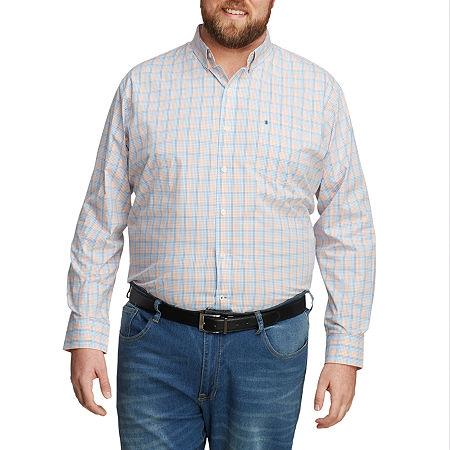 IZOD Mens Long Sleeve Button-Down Shirt - Big and Tall, 4x-large Tall , Orange