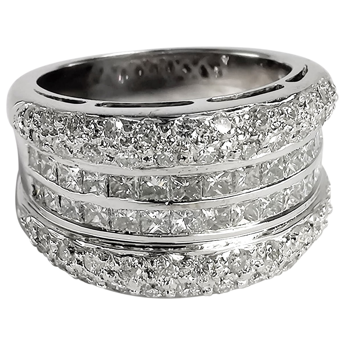 Non Signé / Unsigned \N Silver White gold ring for Women 54 MM