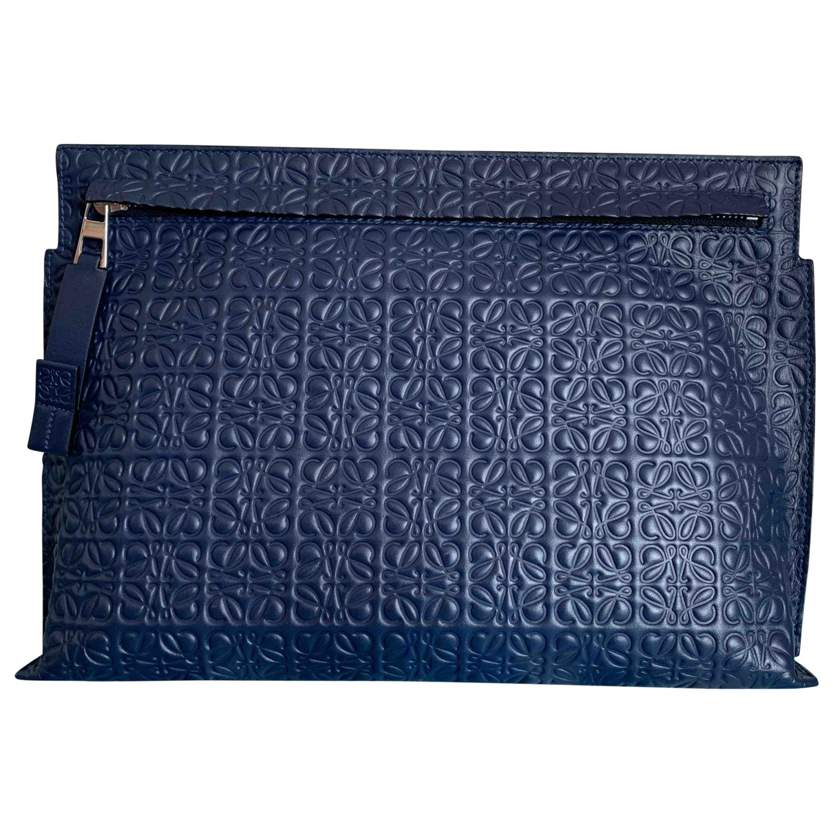 Loewe T Pouch Repeat Blue Leather Small bag, wallet & cases for Men \N