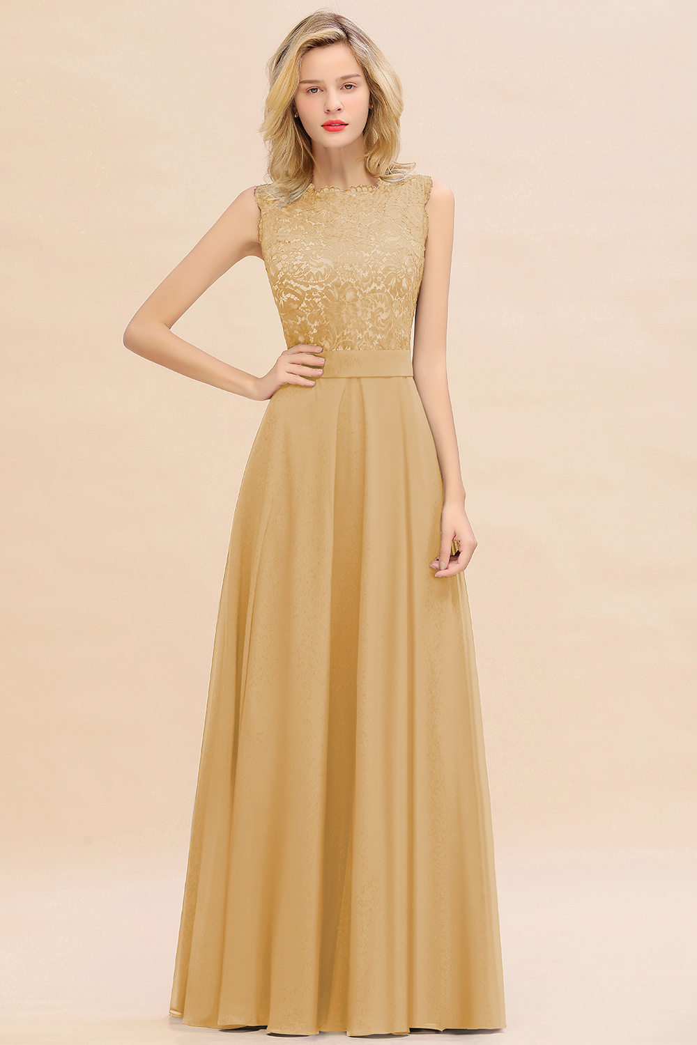 BMbridal Exquisite Scoop Chiffon Lace Bridesmaid Dresses with V-Back