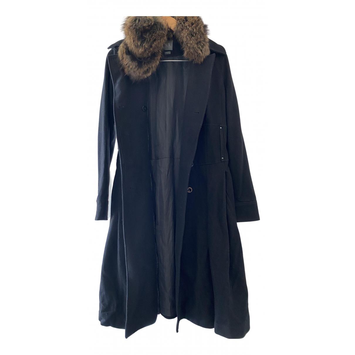Emporio Armani - Manteau   pour femme en laine - noir