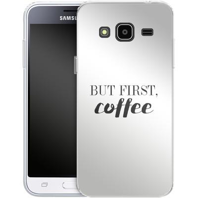 Samsung Galaxy J3 (2016) Silikon Handyhuelle - But first, coffee! von Erik Scholz