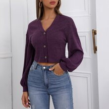 Bishop Sleeve Button Front Rib-knit Tee