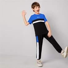 Boys Letter Graphic Colorblock Top & Side Seam Sweatpants Set