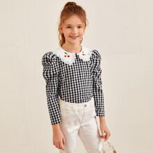 Girls Cherry Embroidered Collar Gigot Sleeve Gingham Top