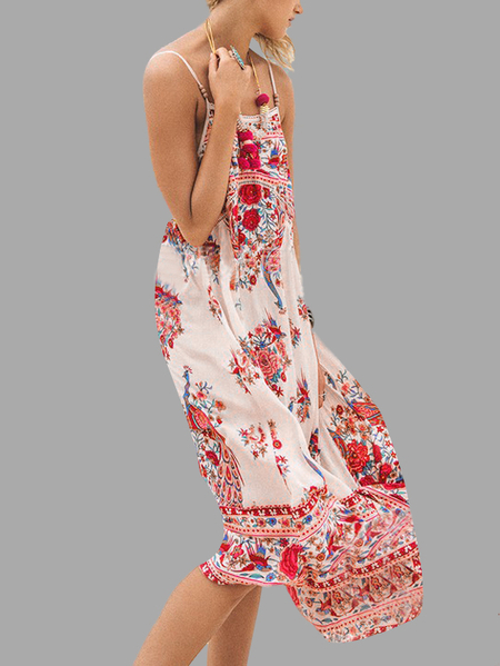 Yoins Loose Irregular Hem Random Floral Print Backless Cami Maxi Dress