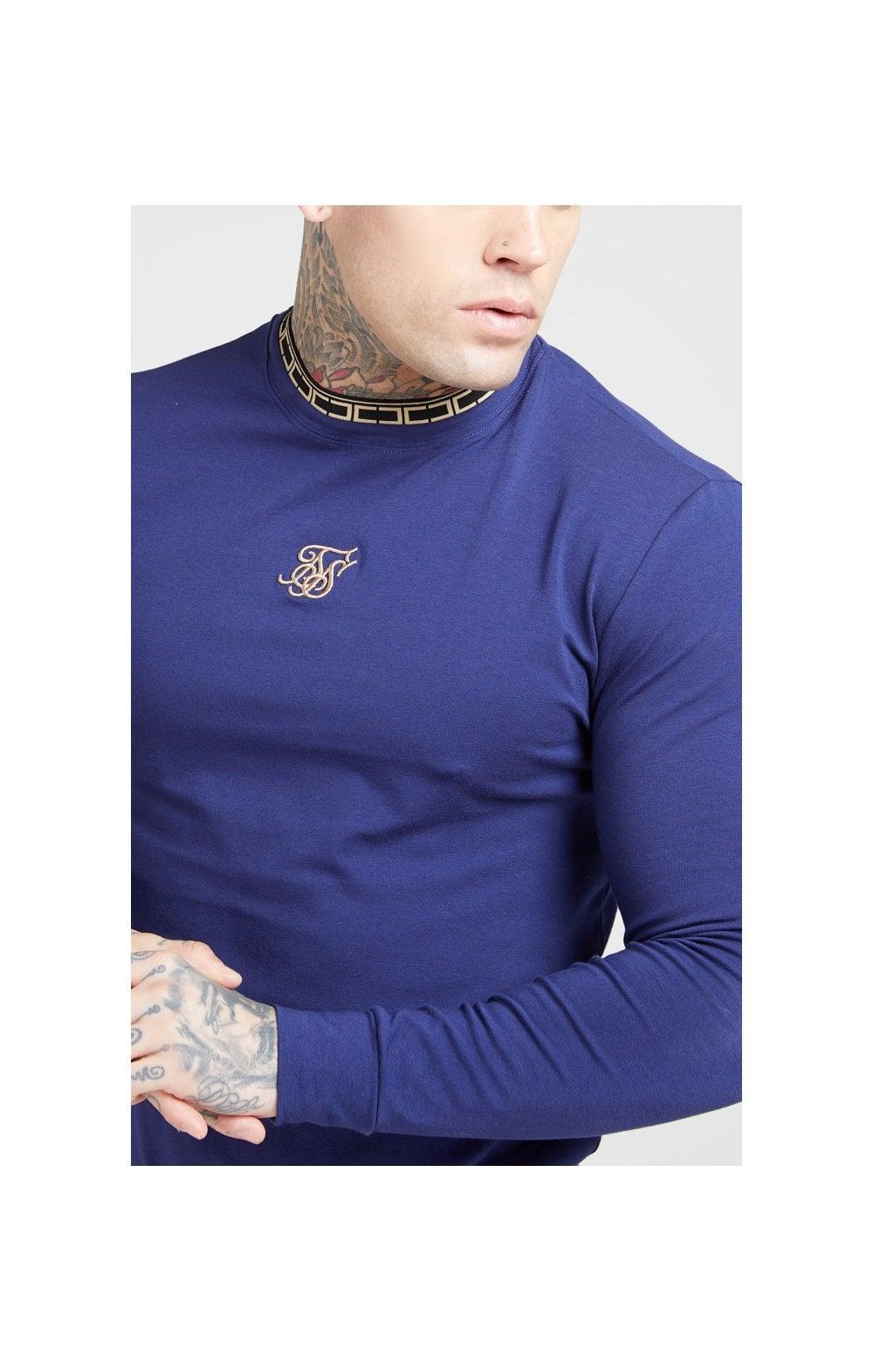 SikSilk L/S Tape Collar Gym Tee - Navy & Gold MEN SIZES TOP: XS