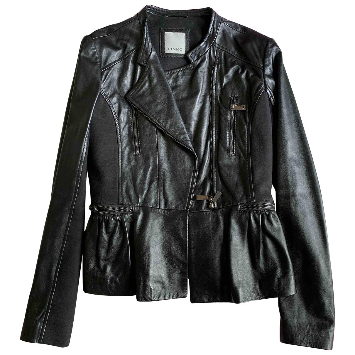 Pinko - Veste   pour femme en cuir - noir