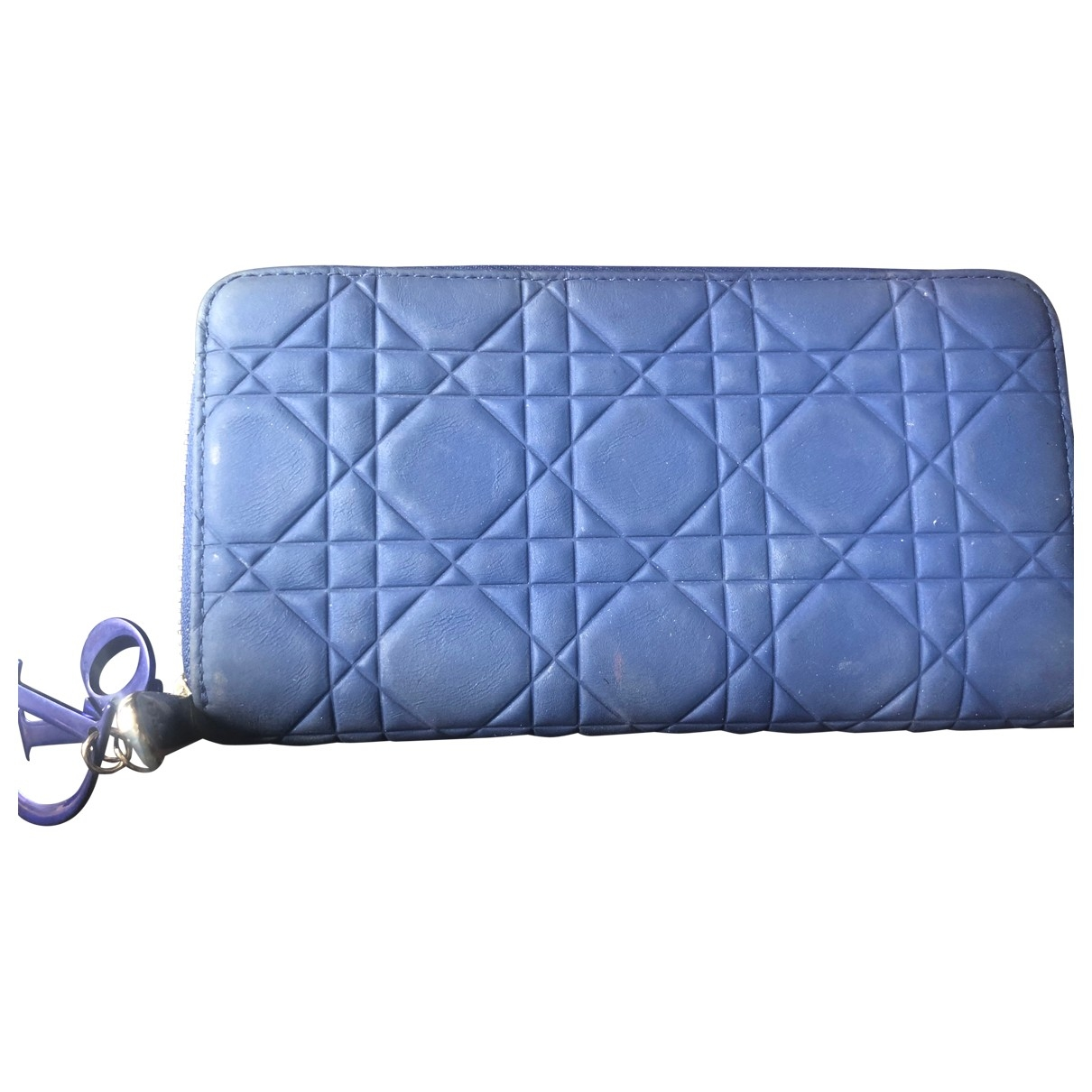 Dior Lady Dior Blue Leather wallet for Women \N