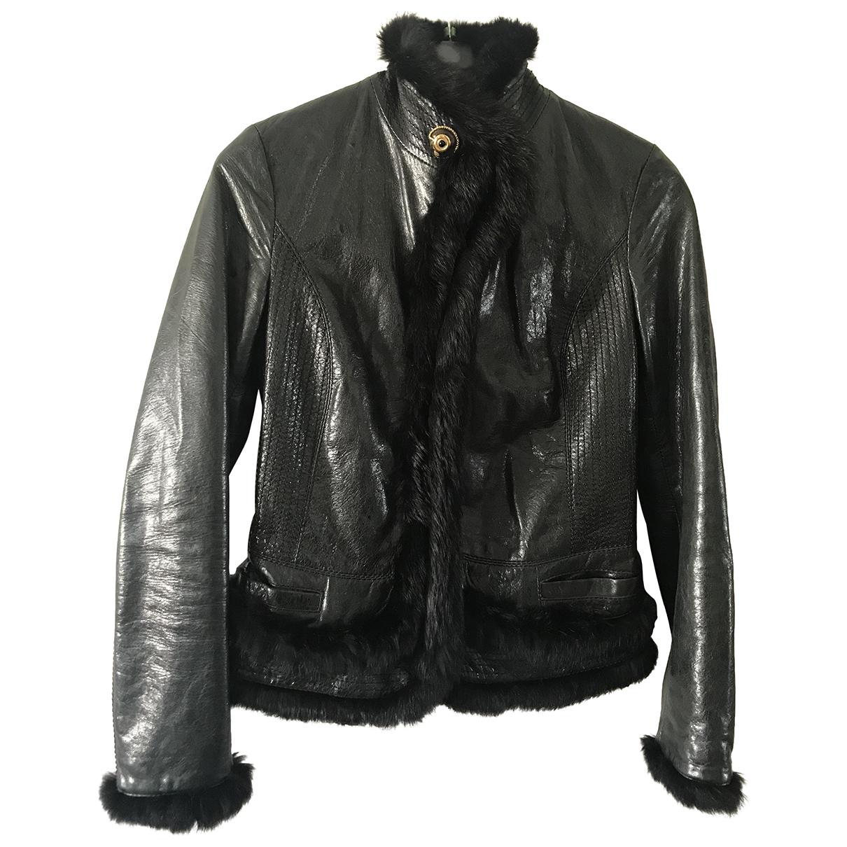 Class Cavalli - Veste   pour femme en cuir - noir