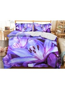 Purple Lilies Soft 3D Printed Polyester 3-Piece Bedding Sets/Duvet Covers