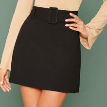 Buckle Belted Solid Skirt