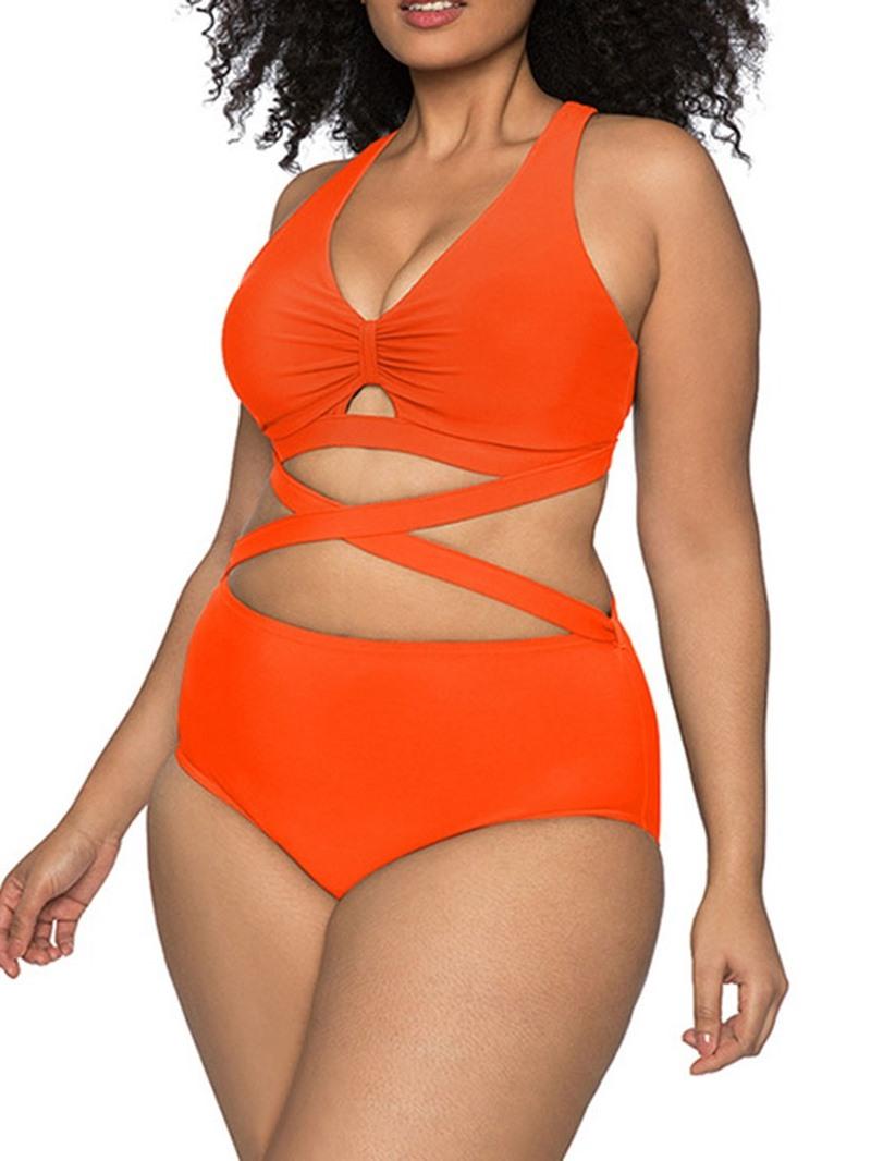 Ericdress Plus Size Plain Tankini Set Sexy Swimwear