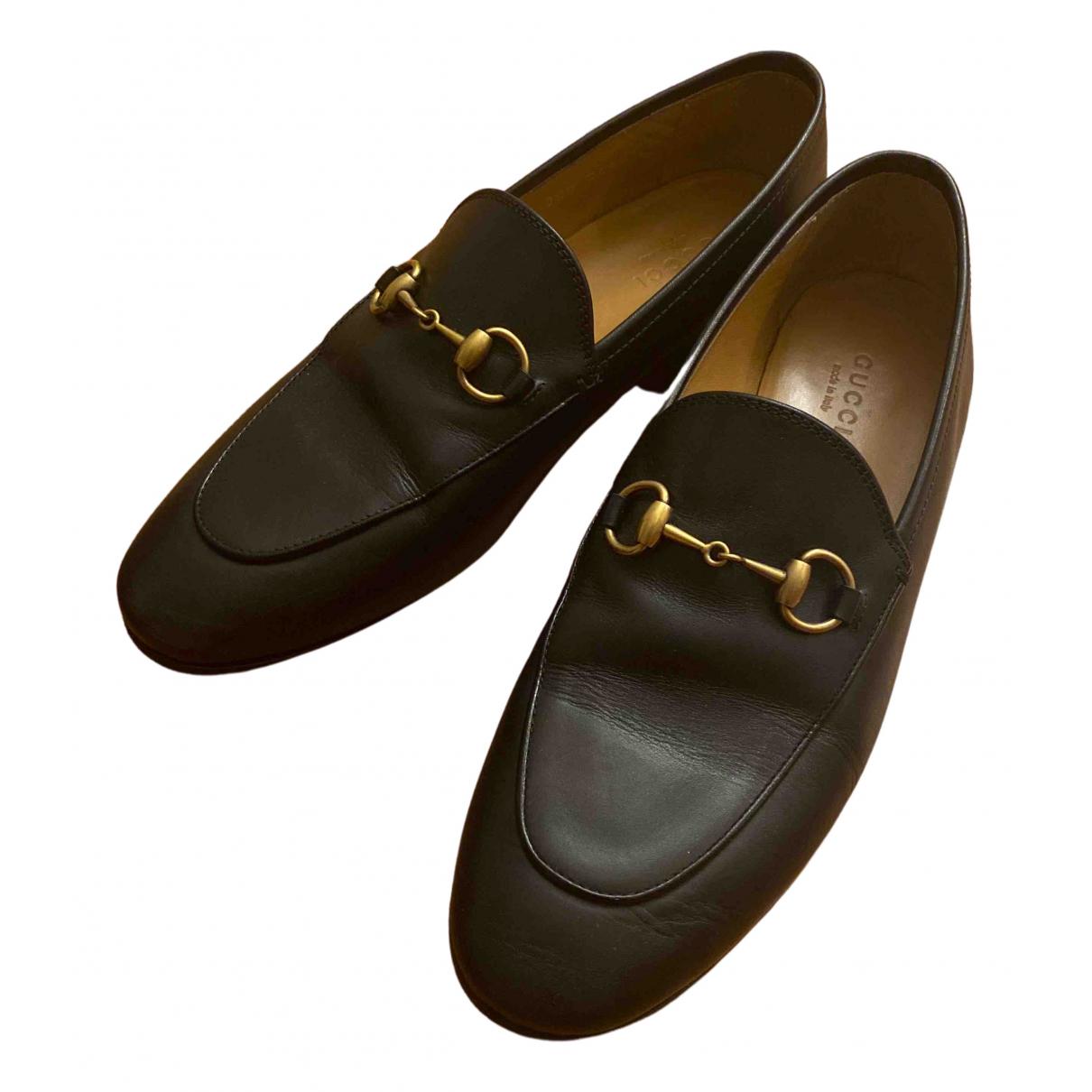 Gucci Jordaan Black Leather Flats for Women 36.5 EU