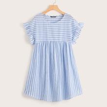 Kleid mit Ruesche und Streifen