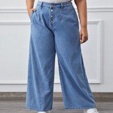 Jeans mit Knopfen und breitem Beinschnitt