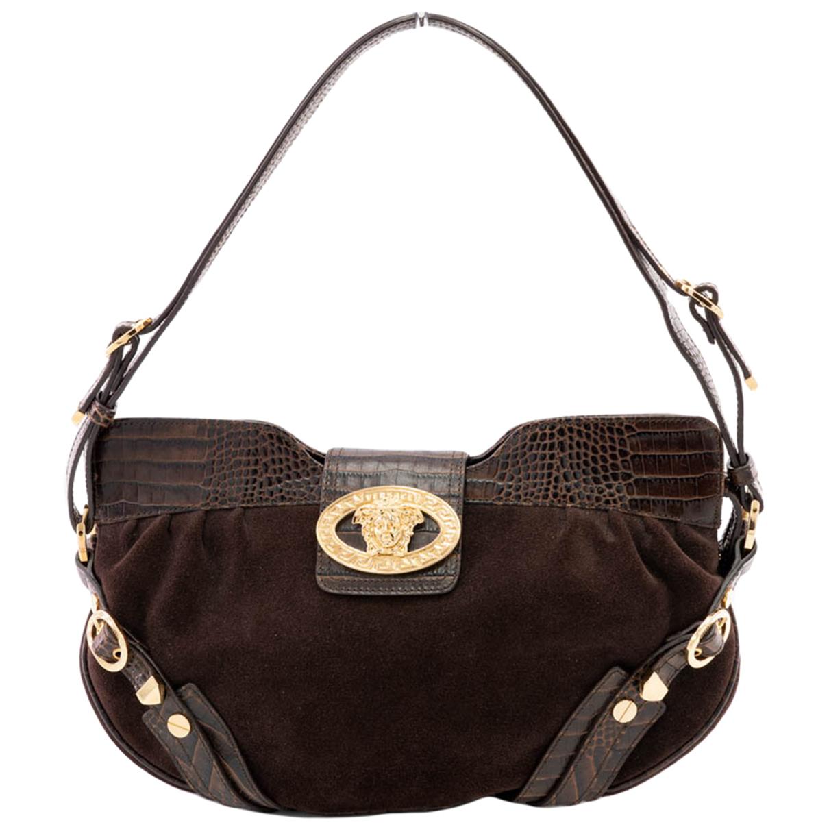 Versace \N Handtasche in  Braun Krokodil