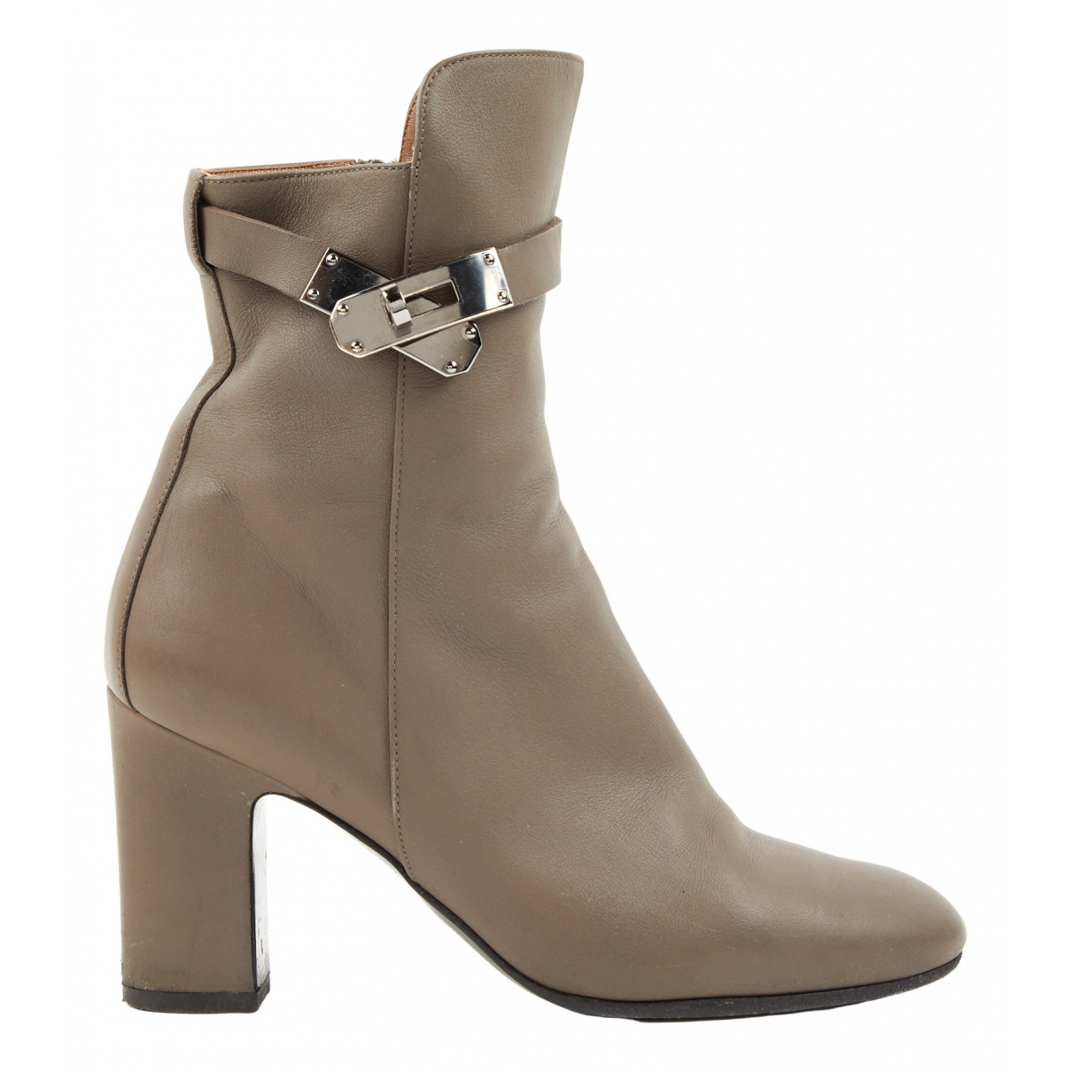 Hermès Joueuse Grey Leather Ankle boots for Women 38 EU