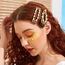 2 Stuecke Haarspangen mit Kunstperlen Decor