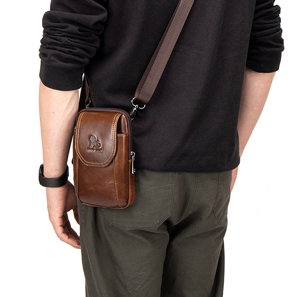 Men Genuine Leather Waist Bag Casual Crossbody Bag