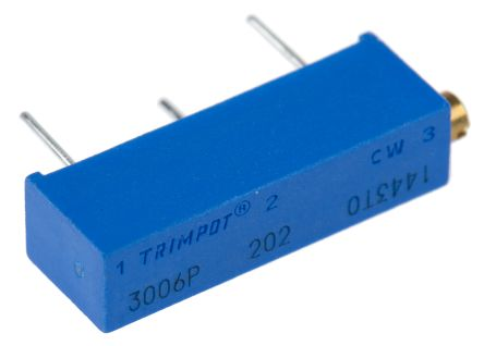 Bourns 2kΩ, Through Hole Trimmer Potentiometer 0.75W Side Adjust , 3006