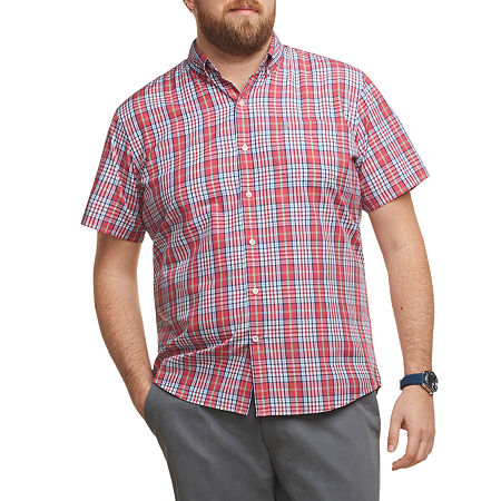 IZOD Big and Tall Advantage Performance Wovens Mens Short Sleeve Cooling Plaid Button-Down Shirt, 4x-large , Red