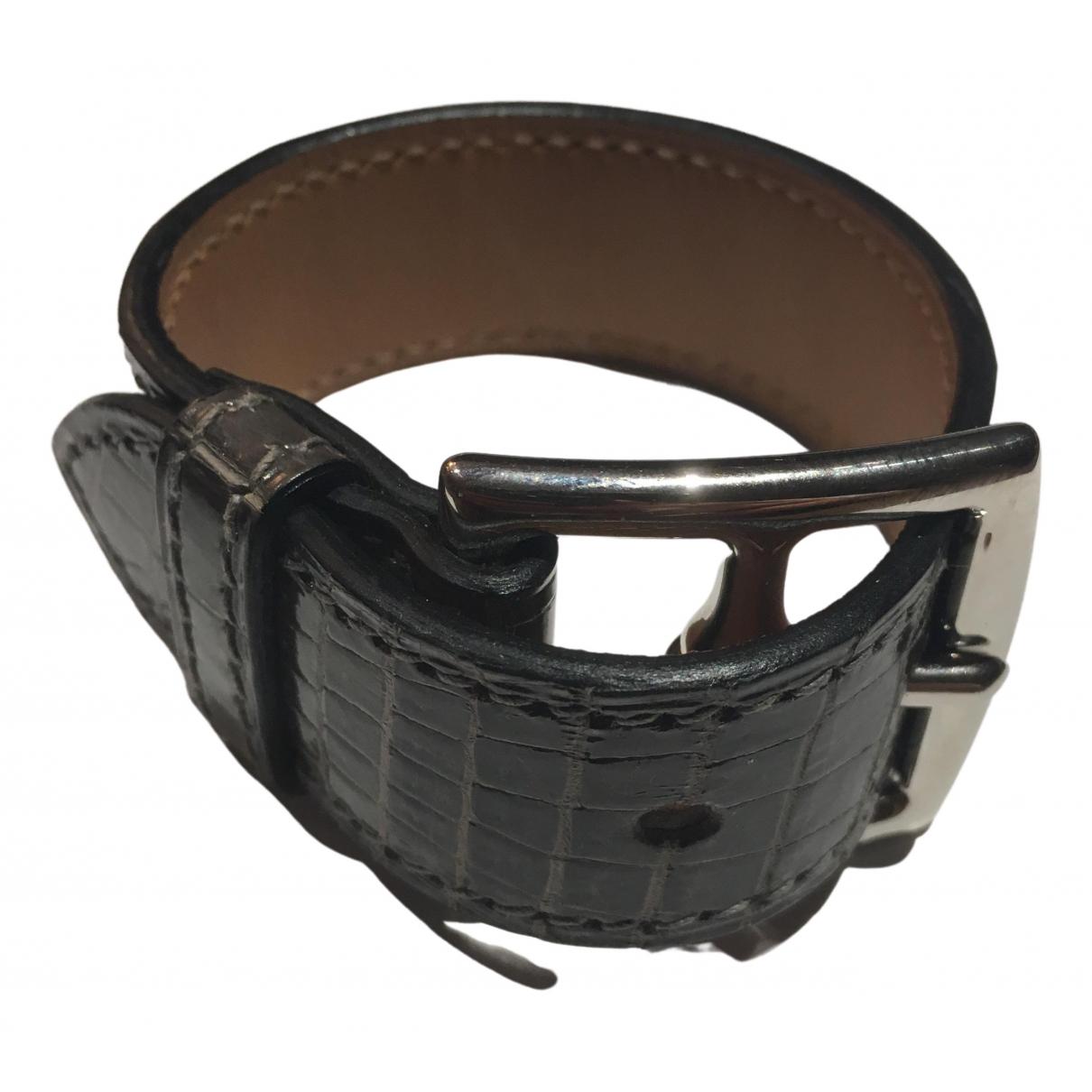 Hermès Etrivière Anthracite Crocodile bracelet for Women \N