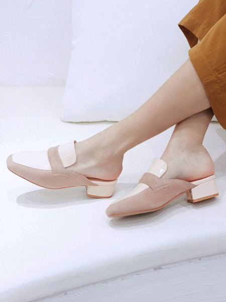 Milanoo Block Heel Mules Women Square Toe Backless Loafer Shoes