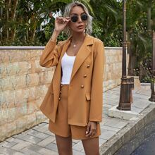 Lapel Collar Double Breasted Blazer & Shorts
