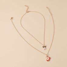 2 Stuecke Halskette mit Weihnachtsmann Anhaenger