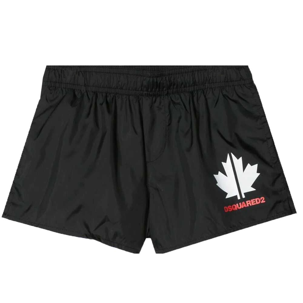 Dsquared2 Maple Leaf Swimshorts Colour: BLACK, Size: 10 YEARS