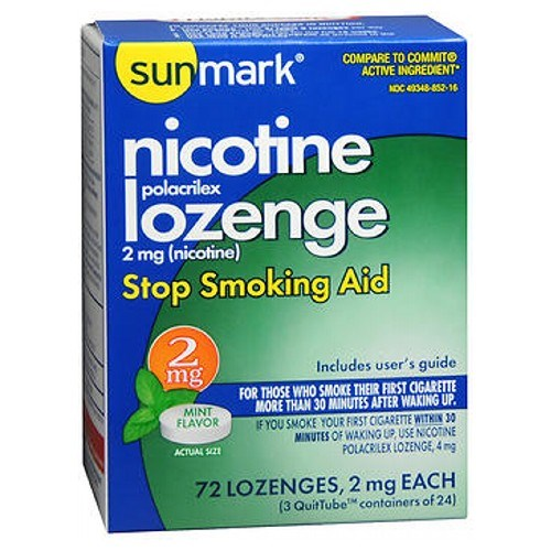 Sunmark Nicotine Polocrilex Lozenge Mint 72 each by Sunmark