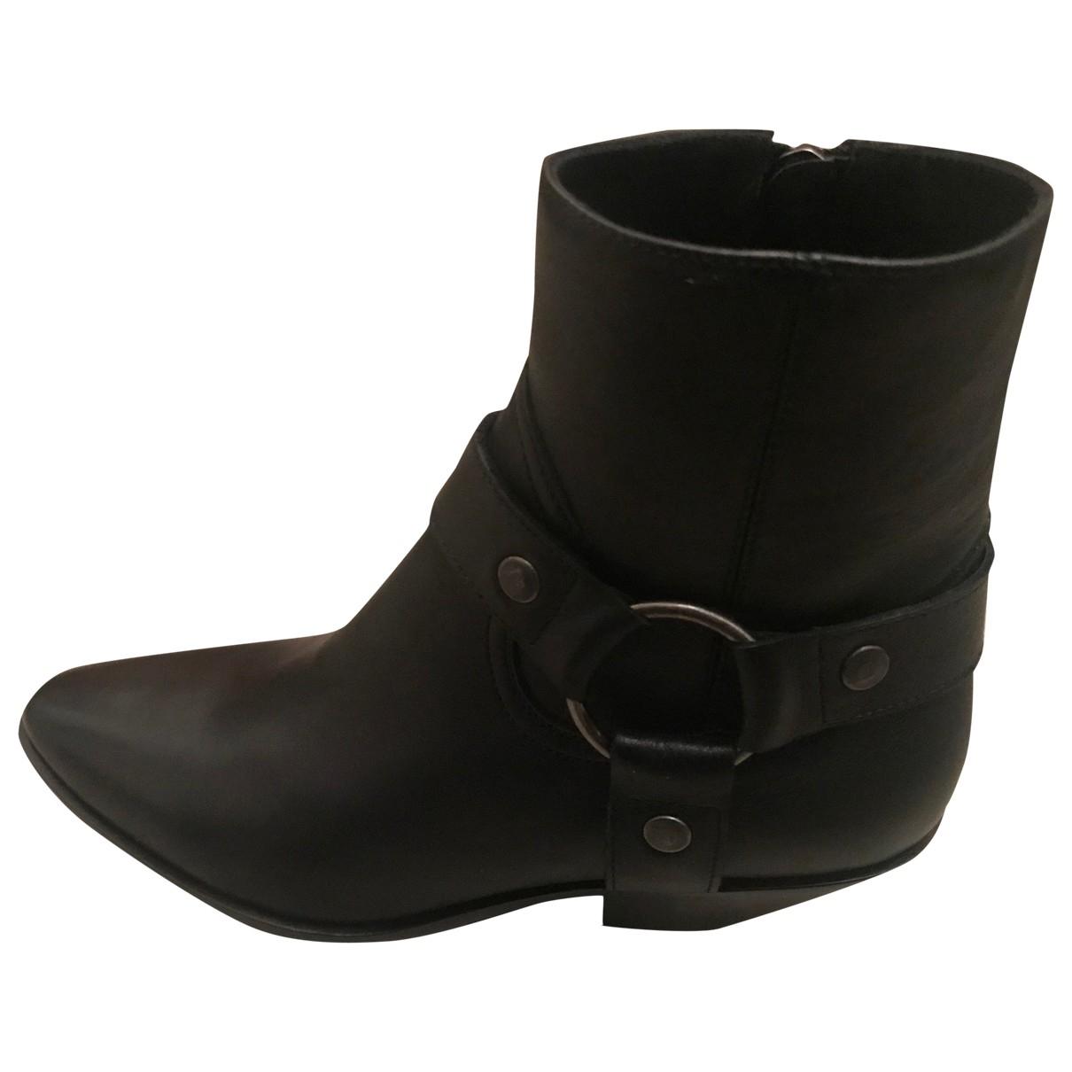 Saint Laurent - Boots Lukas pour femme en cuir - noir