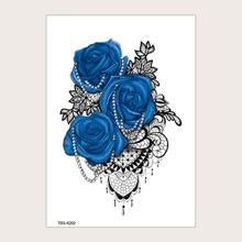 1 Blatt Tattoo Aufkleber mit Rose Muster
