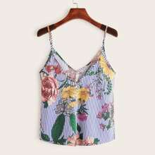 Double V-neck Striped & Floral Print Cami Top