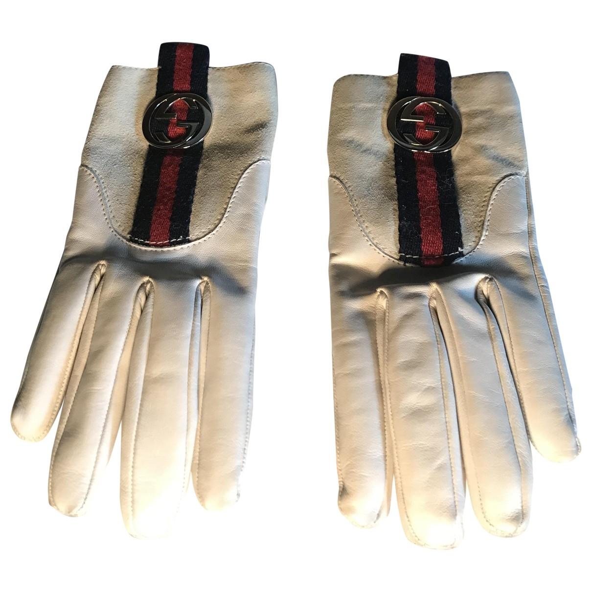 Gucci - Gants   pour femme en cuir - blanc