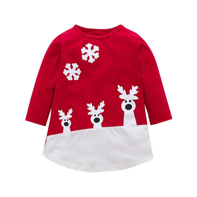 Christmas Party Girls Long Sleeve Casual Dress For 2Y-9Y
