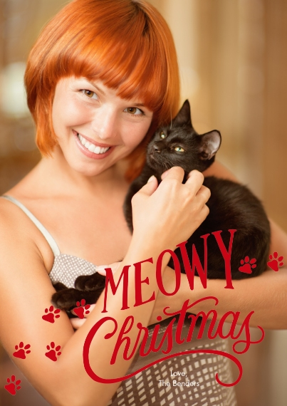 Christmas Photo Cards 5x7 Cards, Premium Cardstock 120lb with Rounded Corners, Card & Stationery -Meowy Christmas & Paw Prints Photo Card by Hallmark