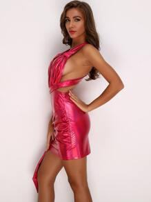 Plunging Neck Crisscross Tie Front Metallic Dress