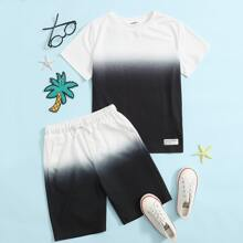 Boys Patch Detail Ombre Top & Track Shorts Set