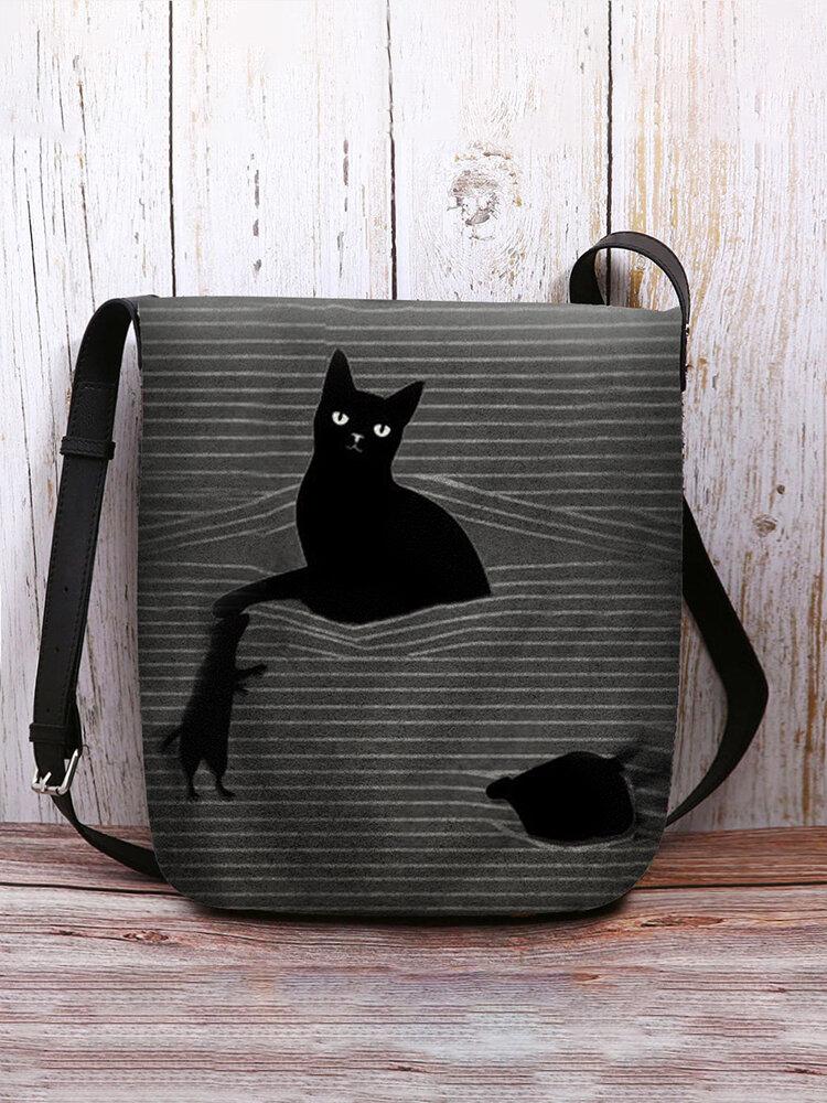 Women Felt Cat Striped Crossbody Bag Shoulder Bag