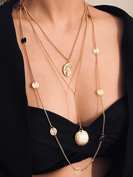 Yoins Gold V-neck Necklace
