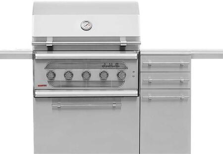 91 Natural Gas American Muscle Grill on Freestanding Cart with 110000 Total BTU  in Stainless
