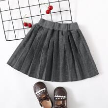 Toddler Girls Elastic Waist Pleated Skirt